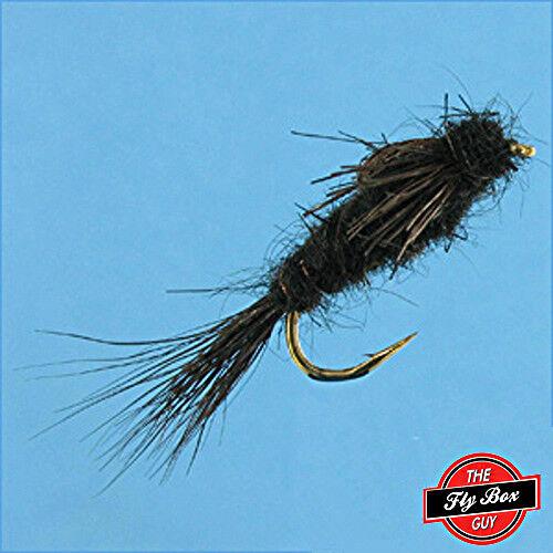 Noir Nymphe Premium Pêche à La Mouche Mouches-Une Douzaine-Tailles Disponibles *** A.P