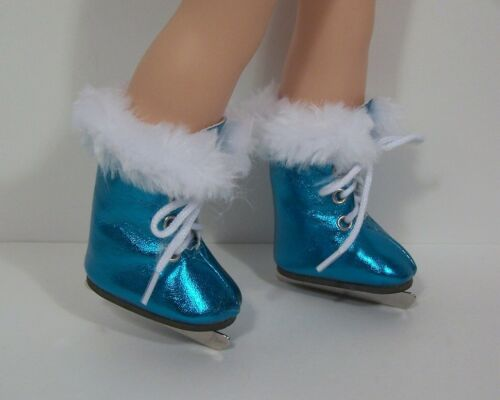 """Debs BLUE Faux Fur Ice-Skate Boots Doll Shoes For 14/"""" Wellie Wisher Wishers"""