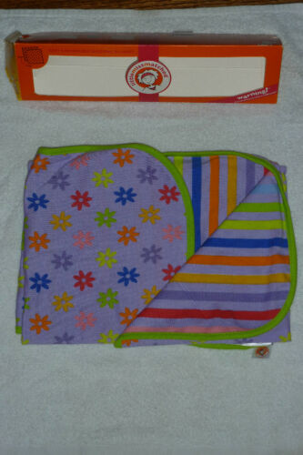 LITTLE MISSMATCHED BABY REVERSIBLE RECEIVING BLANKET PURPLE STRIPE FLOWER NIB