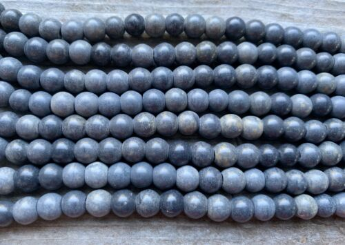 "Approx 72 Beads 15/"" Strand Grey Marble Smooth Round Beads 6mm"