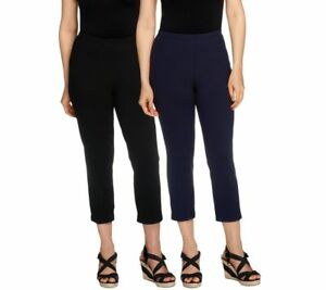 Women with Control Set of 2 Straight Leg Knit Crop Pants Black/Navy PS Size QVC