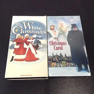 LOT of 2 CHRISTMAS VHS Movies A Christmas Carol (VHS 1984) + White Christmas EUC