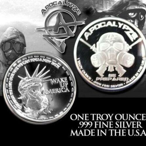 "1oz 1 Troy Ounce Fine Silver Proof Zombie Coin Bullion /""Wake Up America/"" Trump"