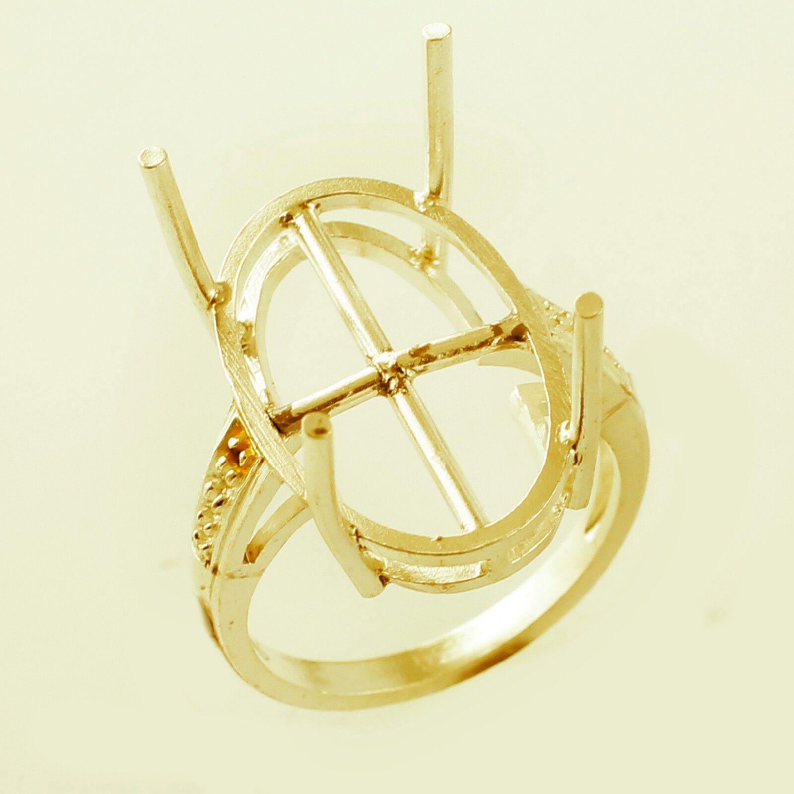 Oval Shape Semi Mount Ring 14x22 MM Eternity gold Stunning Lady Exotic Jewelry