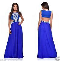 ROYAL BLUE PEARL CRYSTAL DIAMANTE CUT OUT WAIST GRECIAN MAXI GOWN DRESS 8-16