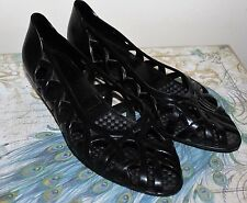 Ladies Vintage 80's Black Braid Rubber/Plastic Jelly Wedge Heel Shoes, Size 7