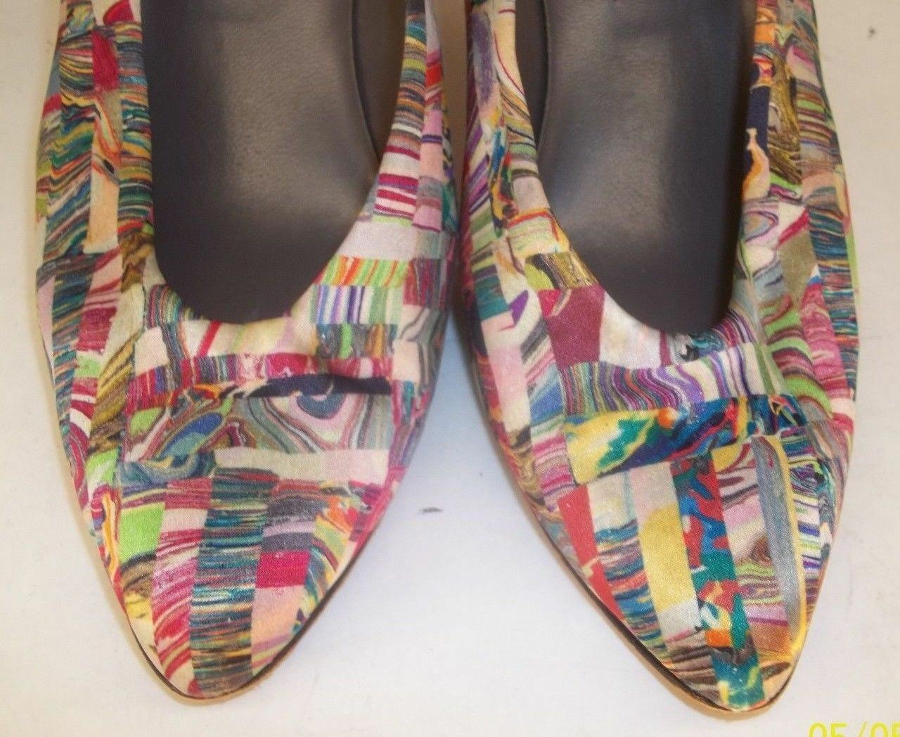 Sesto Meucci Wos schuhe US 5.5M Fabric Leather Leather Leather Slip-On Pumps Heels 152 ac223d