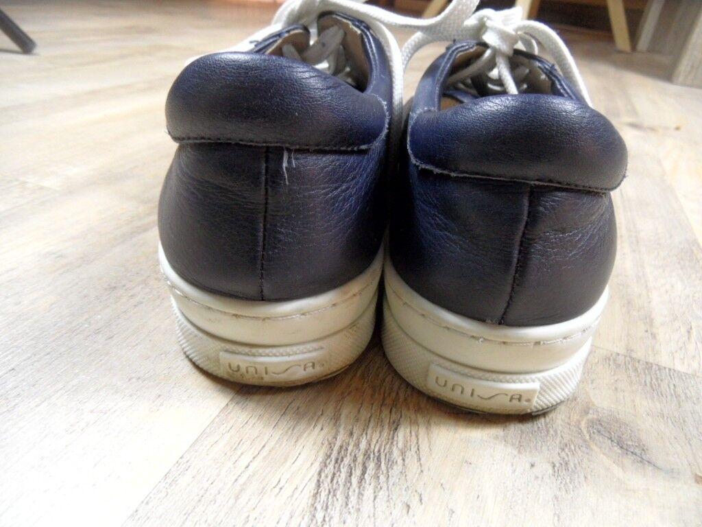 UniSA hermosas cuero sneakers azul Gr. 37 top zc1217