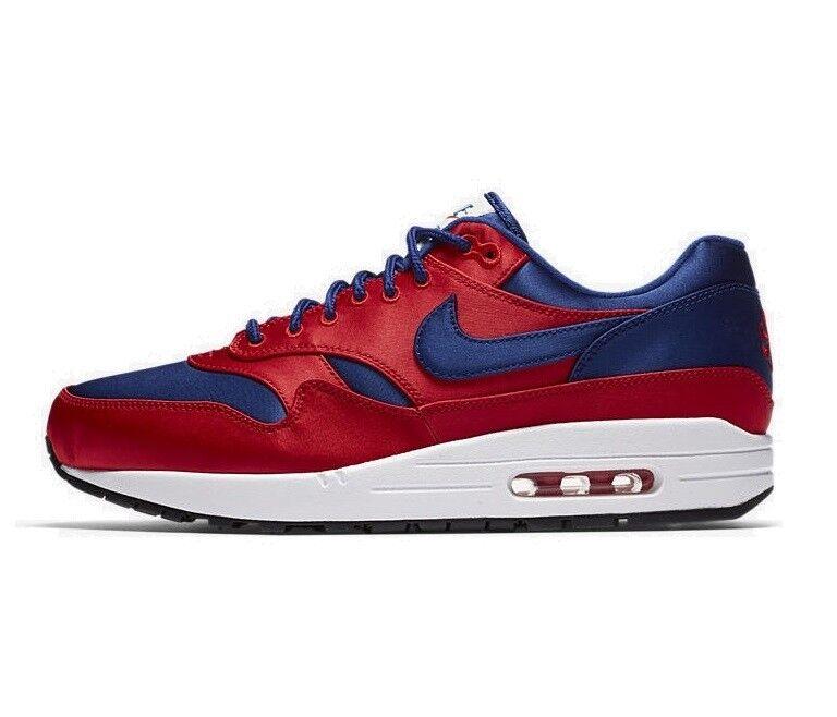 los hombres de Nike Air Max Rojo 1 se zapato Universidad Rojo Max / Deep Royal Azul  nuevo! 1fab4c