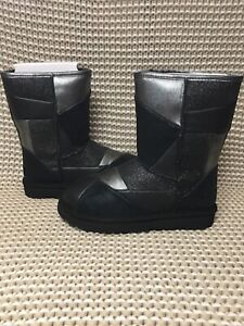 776adfe777b Details about UGG Classic Glitter Patchwork Black Suede Fur Sparkle Short  Boots Size 6 Womens