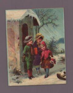 Chromo - Groupe d'enfants en hiver   ( i7096)