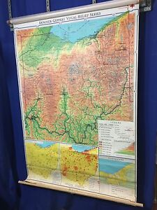 Denoyer-Geppert Series 1967 Visual-Relief Series Map of OHIO FREE