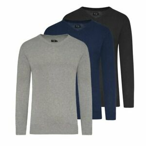 Herren Pullover V-Neck Feinstrick Sweatshirt M - XXXL Sweater 2er 3er Set NEU