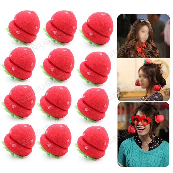 12pcs Foam Strawberry Balls Soft Sponge Hair Curlers Rollers Bun Round Tool New