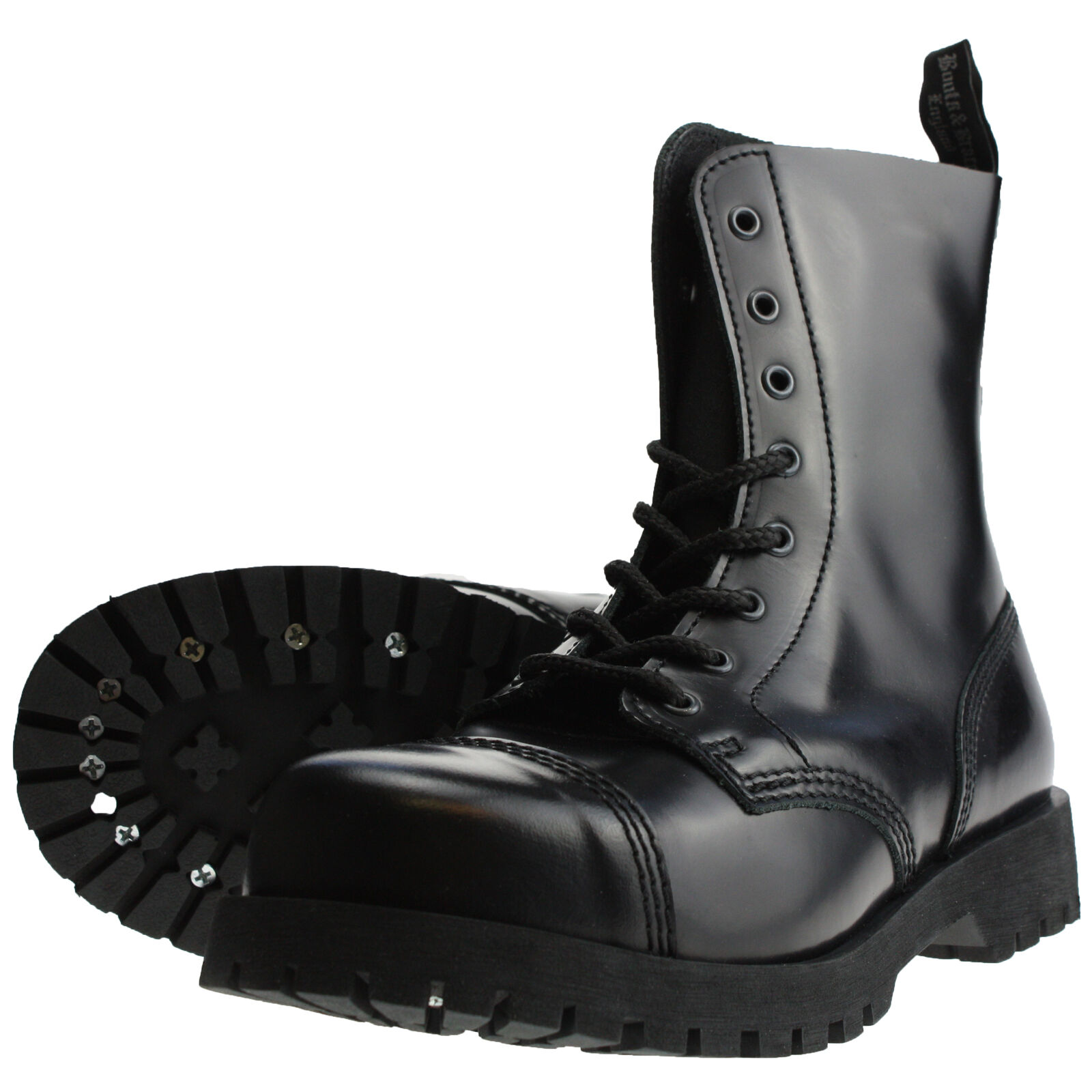 Boots and Braces 8-hole Rangers Black Leather Combat Steel toe cap NEW