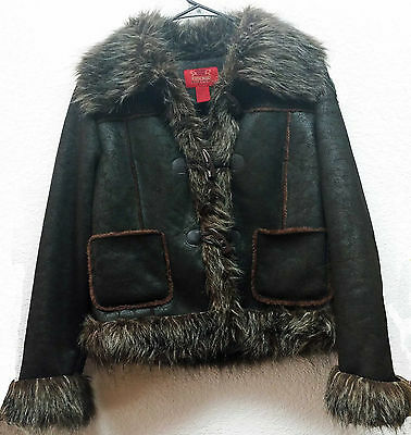 Brown Bomber Jacket Paris Blues Long Sleeve Faux Fur Button Front Womens Size M