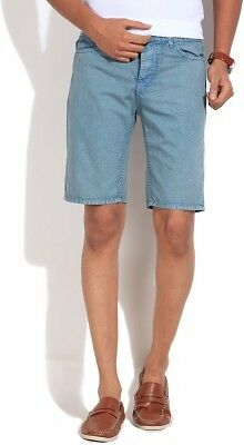 United Colors of Benetton Solid Mens Blue Denim Shorts (Flat 50% OFF) - 850