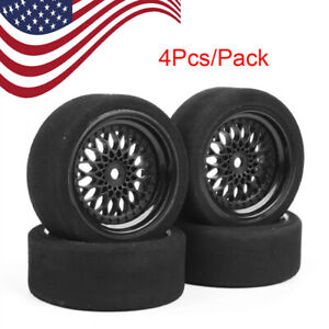 US-4Pcs-Unique-Tyres-Foam-Tire-amp-Wheel-12mm-Hex-F-HSP-HPI-RC-1-10-Racing-Car