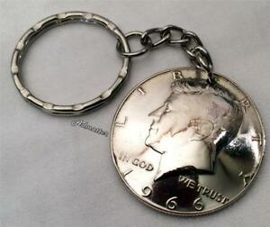 1966-SILVER-HALF-DOLLAR-KEYCHAIN-53rd-BIRTHDAY-GIFT-KEY-RING-GOOD-LUCK-CHARM