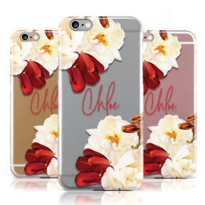 3d09f152a9 Image is loading PERSONALISED-NAME-TRANSPARENT-CLEAR-FLORAL-PHONE-CASE-COVER -