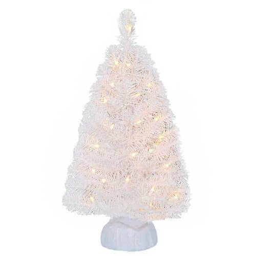 2 Ft Christmas Tree Noble Fir White Artificial Clear Lights Holiday Time Pre Lit