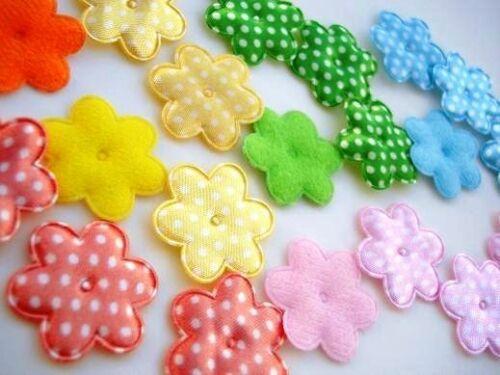 "100 Satin Polka Dots//Felt 1/"" Flower Applique//Craft//Trim//Sewing H238-Pastel"