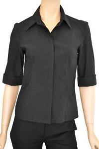 ROCKMANS-SZ-10-WOMENS-Charcoal-Black-Striped-Cuffed-Half-Sleeve-Stretch-Shirt