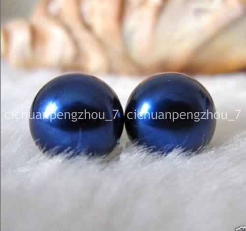 Real 11-12 mm naturel bleu marine Freshwater Cultured Pearl Argent Clous D/'Oreilles