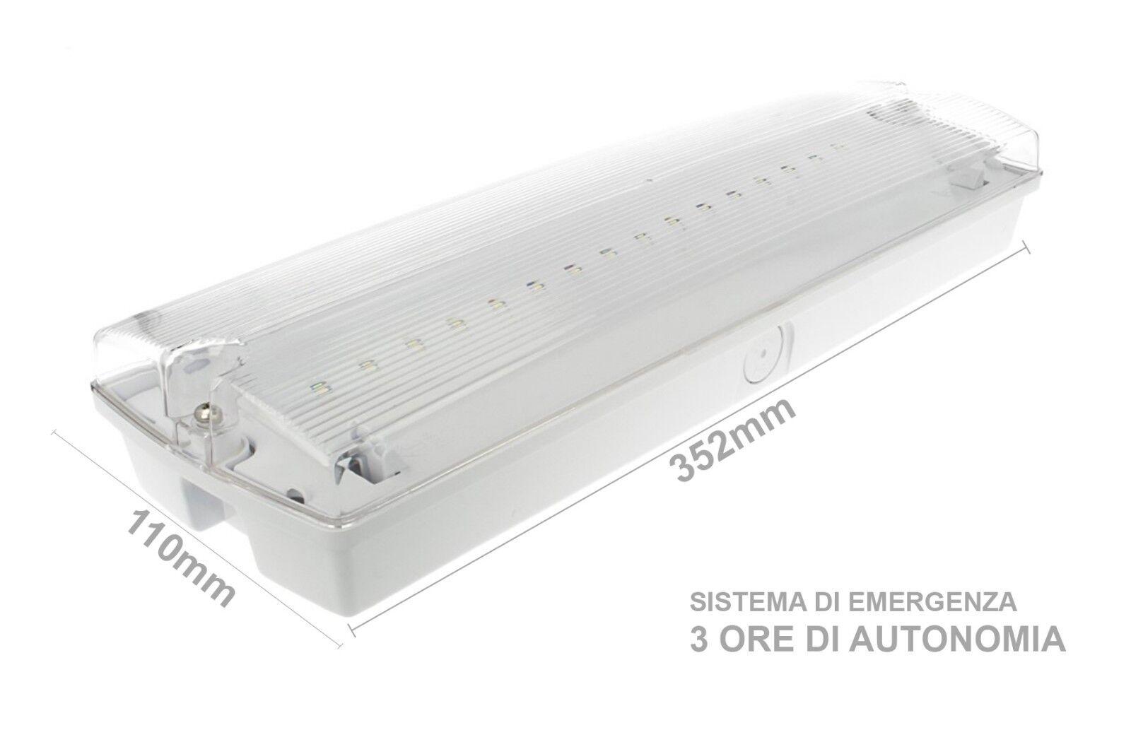 Plafoniera Led Con Con Con Sistema Di Emergenza  Bianco Frossodo IP65 Interno Esterno 709bec