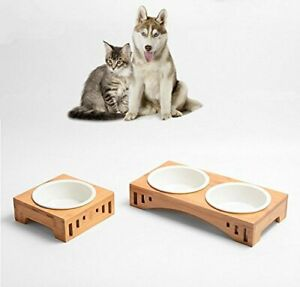 Elevated-Pet-Dog-Cat-Feeding-Bowls-Bamboo-Stand-Holder-Raised-Ceramic-Feeder