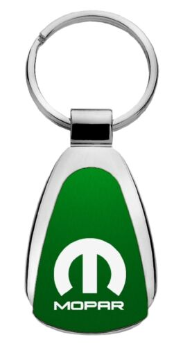 Mopar Parts Green Teardrop Keychain Key Chain Fob Ring Dodge Chrysler Jeep Ram
