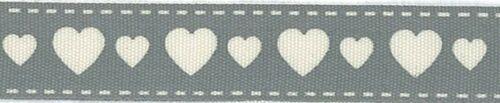 Coeurs Cirée la décoration bricolage 15 mm! la couture WebBand Gris