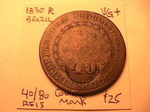 1830-R-BRAZIL-40-80-Reis-Countermark-1835-VG-Original-Brasil-40-Reis-Coin