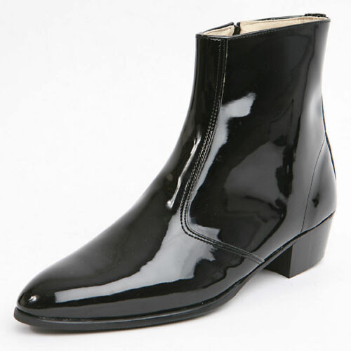 "Men/'s glossy black side zipper hand made KOREA 1.77/"" cuban heels ankle boots"