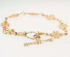 """Antique 9ct Rose Gold 7"""" Fancy Celtic Link(8mm Wide) Bracelet w/ T-bar (26mm)"""