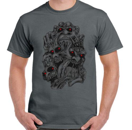 Multiple Skull Disorder Mens Gothic T-Shirt Biker Motorbike Motorcycle Punk Goth