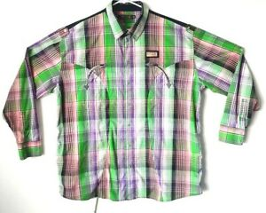 COOGI-Long-Sleeve-Snap-Down-Embroidered-Purple-Green-Plaid-Shirt-Mens-Size-4XL