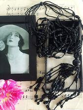 Antique Art Deco 20s Gatsby French Jet Beads Flapper Tassel Necklace Antique Box