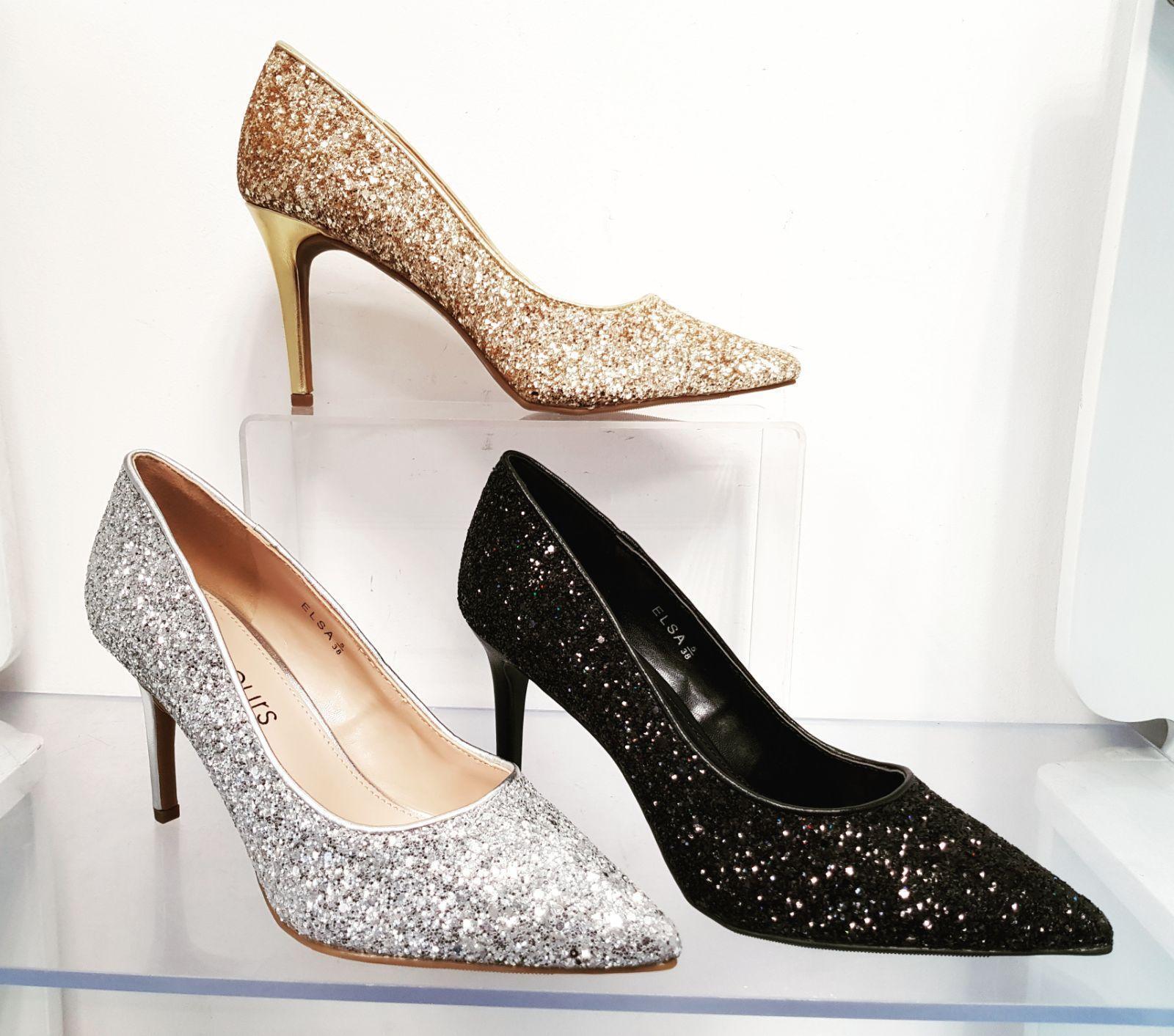 WOMEN LADIES PARTY COURT Schuhe GLITTER DETAILS STILETTO HEELS LADIES SIZE 3-8