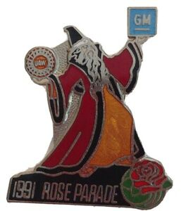 1991-ROSE-PARADE-GM-GENERAL-MOTORS-UAW-UNITED-AUTO-WORKERS-WIZARD-COLLECTORS-PIN