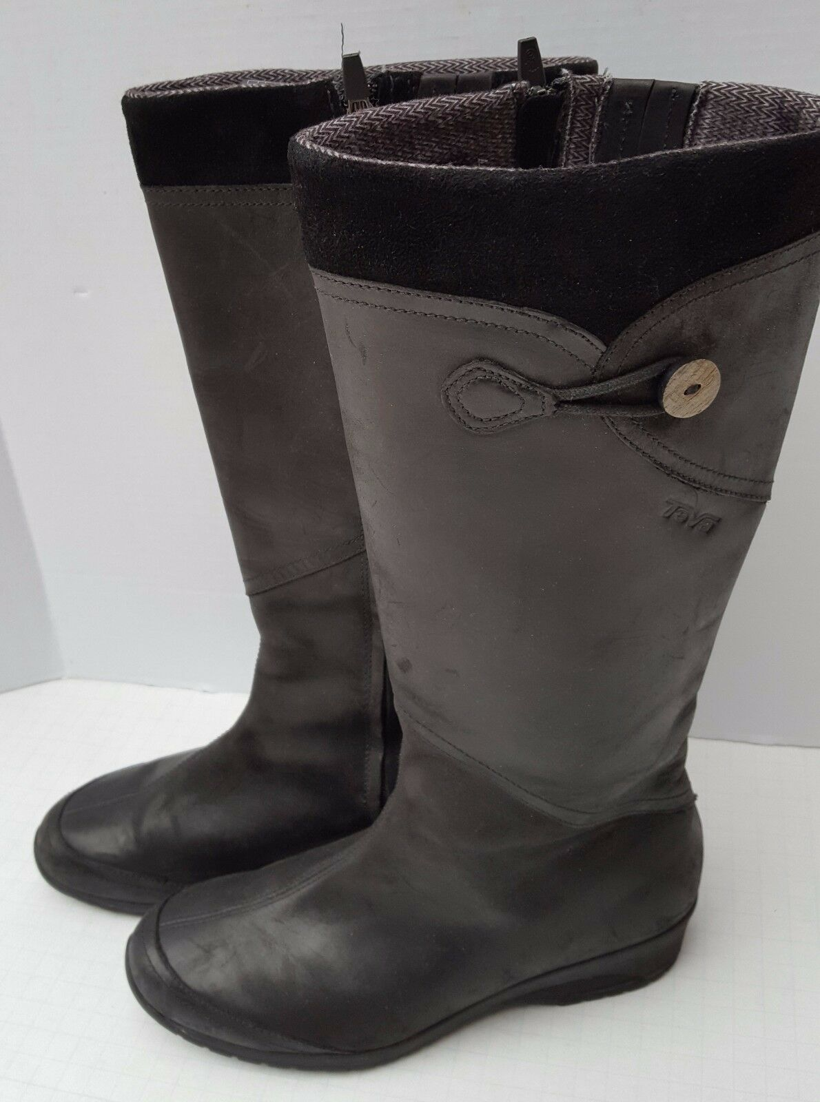 Teva 4325 Boots Wedge Black Leather Knee High Wedge Boots Full Zipper Waterproof 9 US 7.5 40 26cab8