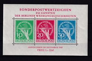 Berlin Block 1 I Währungsgeschädigte Plattenfehler mit Originalgummierung(ct175)