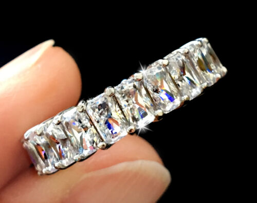 5 Ct Tw Radiant Coupe Alliance Haut Russe Aaaaa Zircone Moissanite Simulant Sz 7