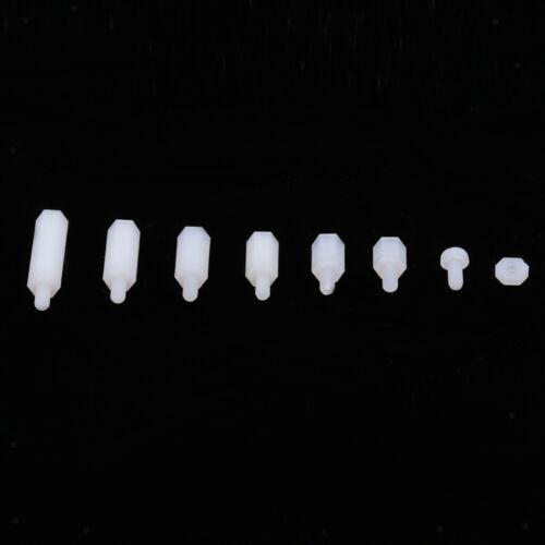 Weiss 180 x Sechskant-Distanzhülsen-Schraubenmutter M3 Nylon Assort Kit