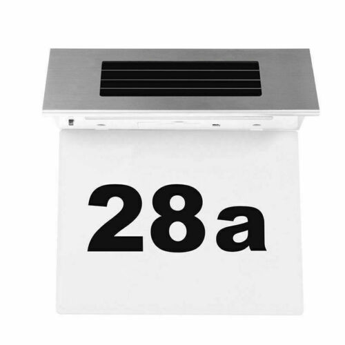 Stainless House Door Number Plaque Lamp Solar Powered LED Light Modern Home Sign