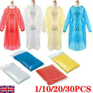 Disposable Poncho Plastic Rain Coat Festival Camping Waterproof Emergency SN