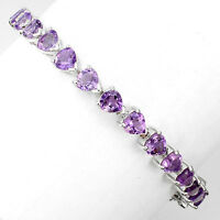 Sterling Silver 925 Genuine Natural Amethyst Heart Cut Bracelet 7.5 Inches