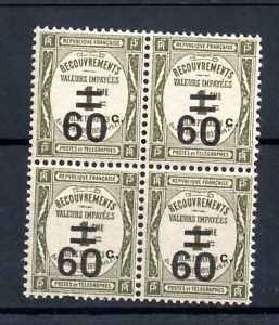 France-1926-60c-on-1c-Postage-Due-mint-LHM-block-WS18297