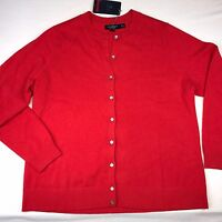 Cashmere Sweater Cardigan Womens Lands End Xxl Size 2x Button Down Punch Orange
