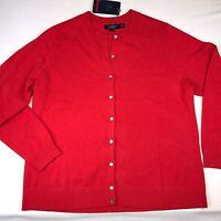 Cashmere Sweater Cardigan Womens Lands End Xl Size 1x Button Down Punch Orange